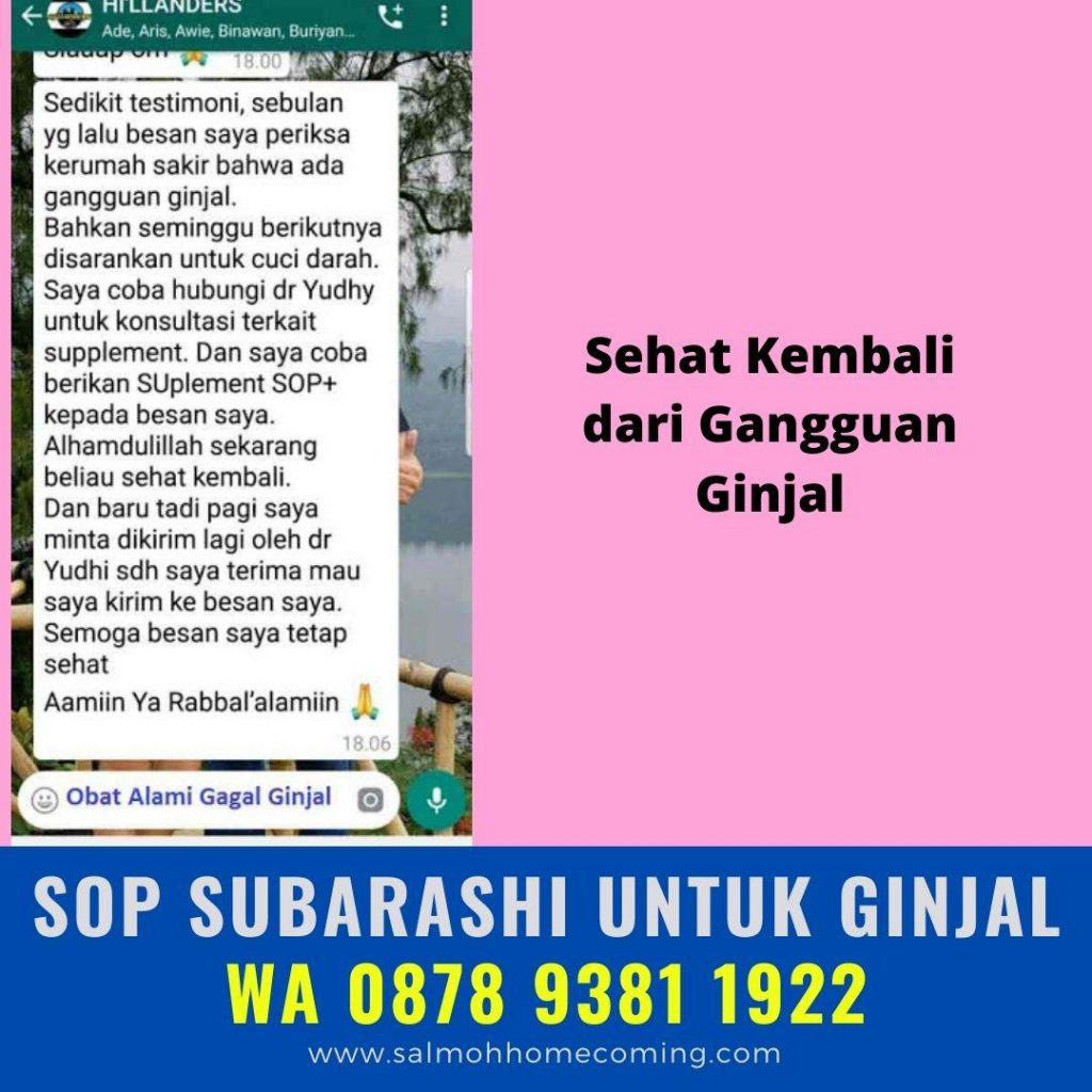 testimoni SOP Subarashi untuk Ginjal